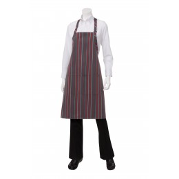 Chef Works A500GCR0 Gray, Charcoal, and Red Striped Bib Apron