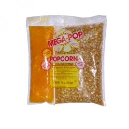 Gold Medal 2839 Mega Popcorn 12-14oz Corn, Coconut Oil Blend, Salt Kits 24/CS